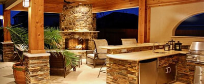 Indoor / Outdoor Fireplaces in Burlington Vermont by FireBrick Custom Masonry
